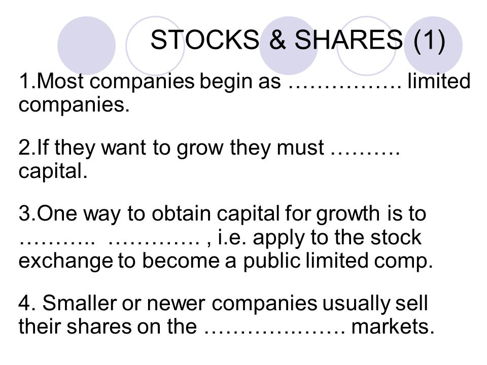 STOCKS & SHARES (1) 1.Most companies begin as …………….