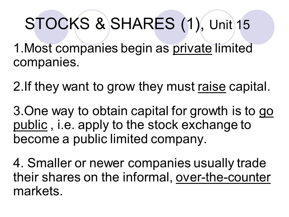 STOCKS & SHARES (1), Unit 15 1.Most companies begin as private limited companies.