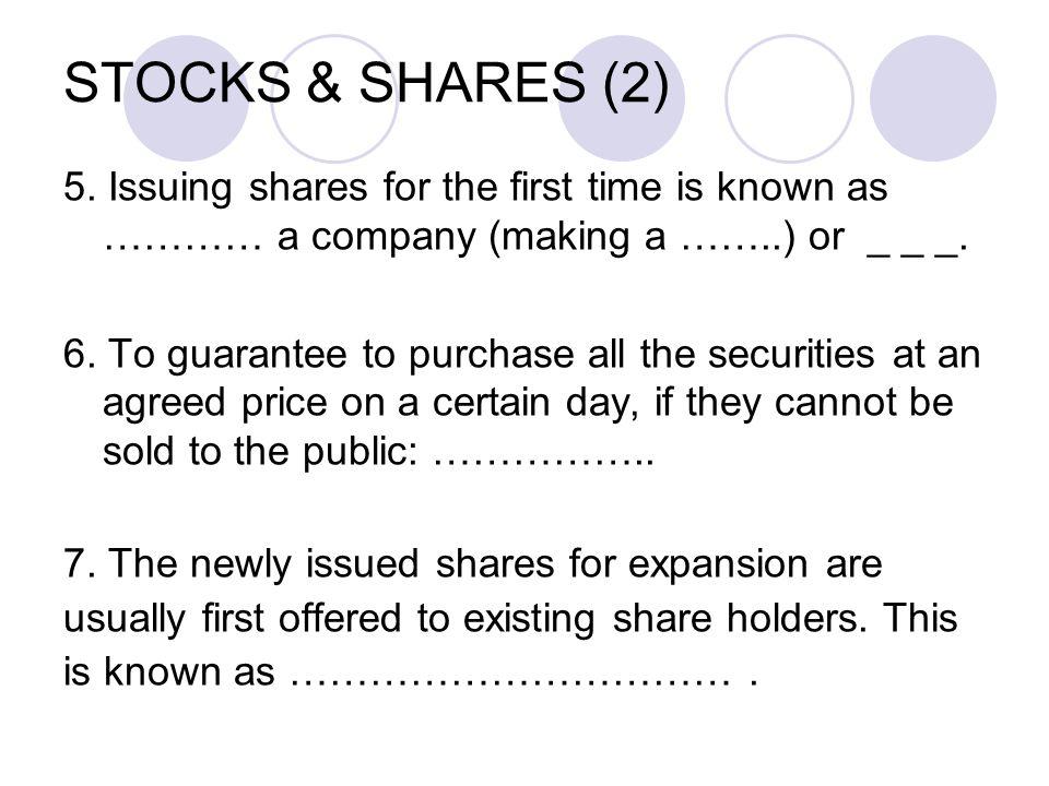STOCKS & SHARES (2) 5.