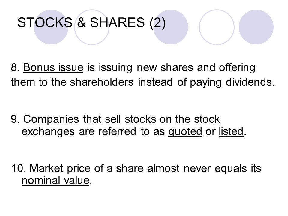 STOCKS & SHARES (2) 8.