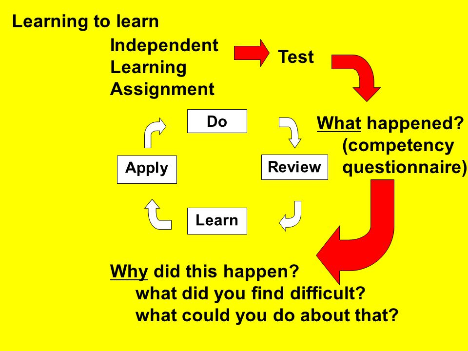 Do Apply Review Learn Learning to learn Independent Learning Assignment Test What happened? (competency questionnaire) Why did this happen? what did y