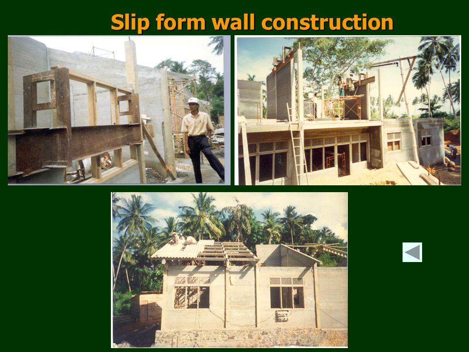 Slip form wall construction