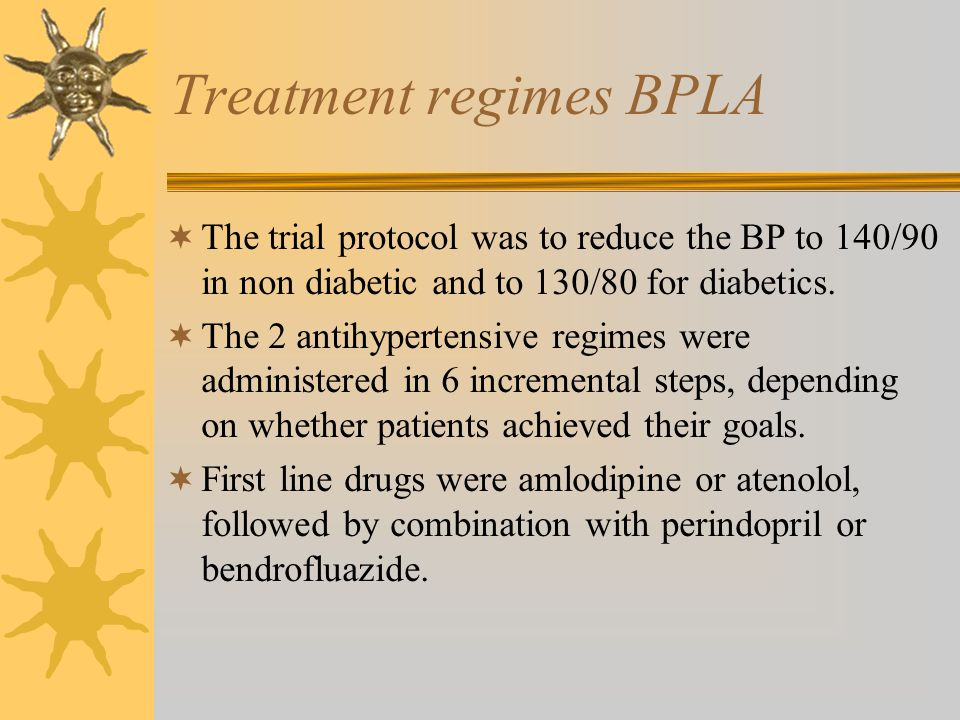 Treatment regimes BPLA  The trial protocol was to reduce the BP to 140/90 in non diabetic and to 130/80 for diabetics.