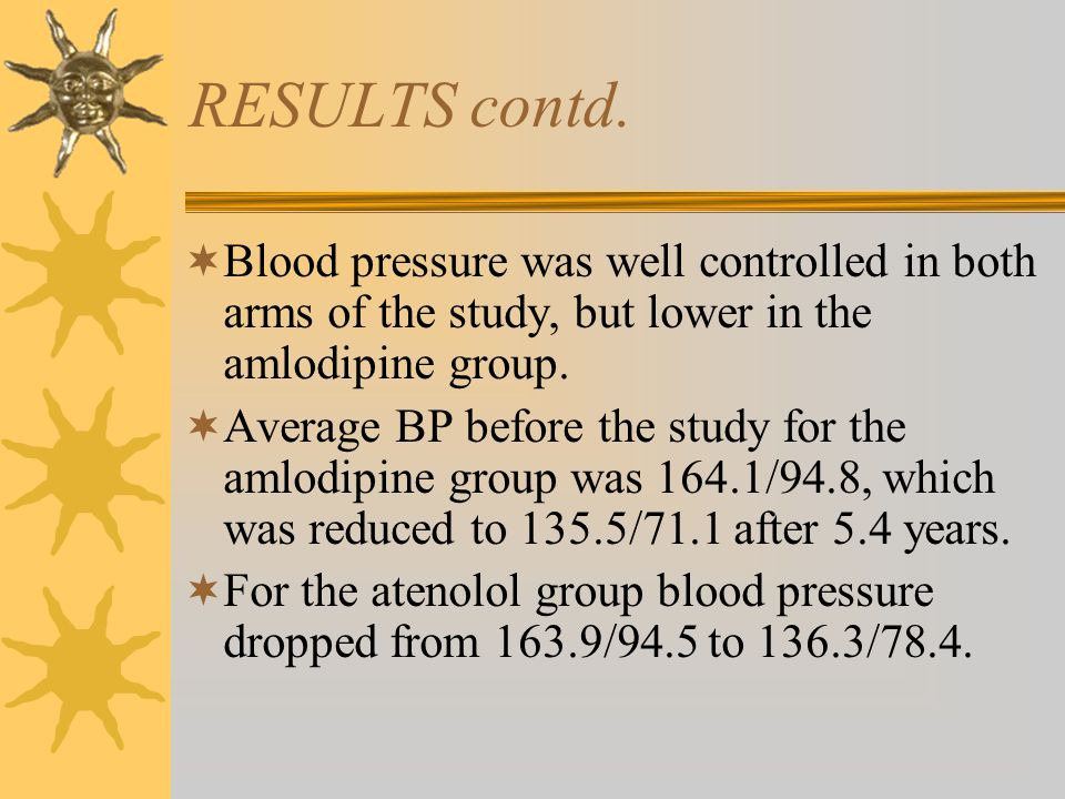 RESULTS contd.  Blood pressure was well controlled in both arms of the study, but lower in the amlodipine group.  Average BP before the study for th