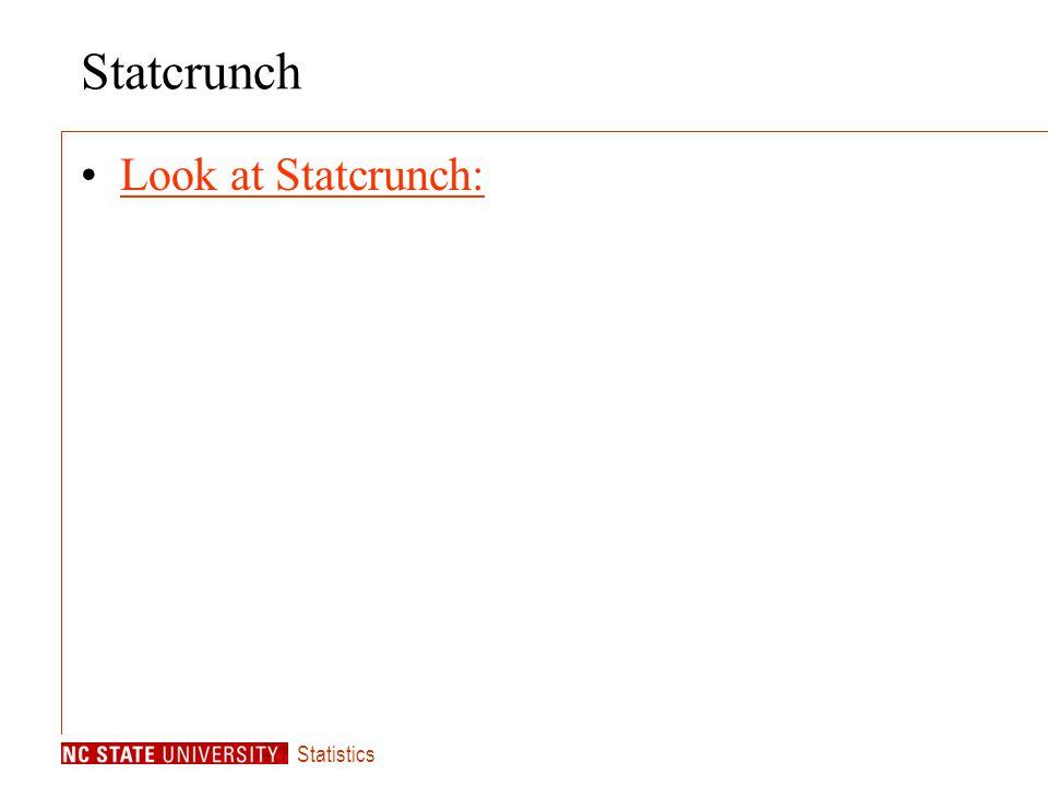 Statistics Statcrunch Look at Statcrunch: