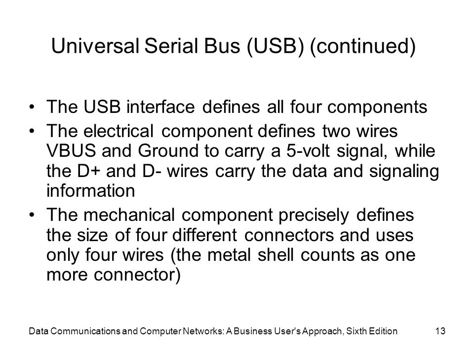 Data Communications and Computer Networks: A Business User's Approach, Sixth Edition13 Universal Serial Bus (USB) (continued) The USB interface define