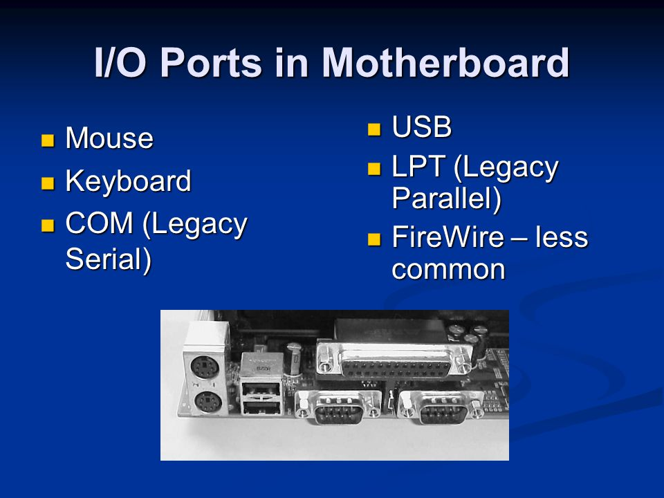 I/O Ports in Motherboard Mouse Mouse Keyboard Keyboard COM (Legacy Serial) COM (Legacy Serial) USB USB LPT (Legacy Parallel) LPT (Legacy Parallel) Fir
