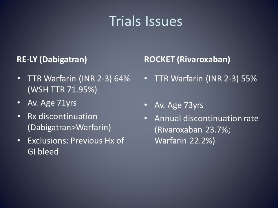 Trials Issues RE-LY (Dabigatran) TTR Warfarin (INR 2-3) 64% (WSH TTR 71.95%) Av. Age 71yrs Rx discontinuation (Dabigatran>Warfarin) Exclusions: Previo