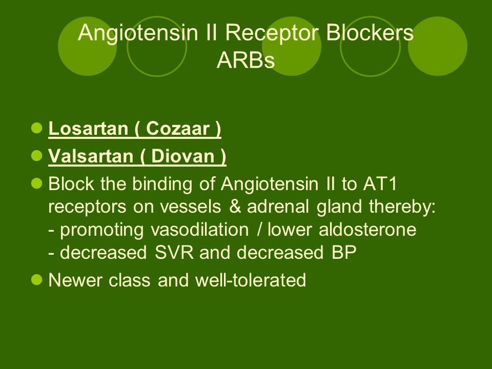 Angiotensin II Receptor Blockers ARBs Losartan ( Cozaar ) Valsartan ( Diovan ) Block the binding of Angiotensin II to AT1 receptors on vessels & adrenal gland thereby: - promoting vasodilation / lower aldosterone - decreased SVR and decreased BP Newer class and well-tolerated