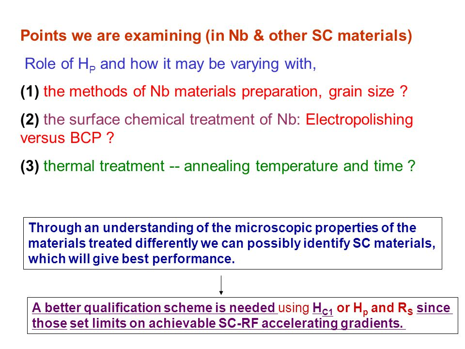 Points we are examining (in Nb & other SC materials) Role of H P and how it may be varying with, (1) the methods of Nb materials preparation, grain size .