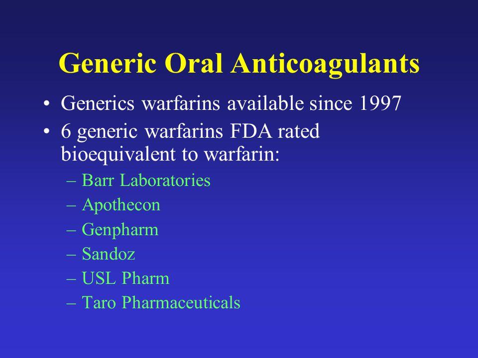 Generic Oral Anticoagulants Generics warfarins available since 1997 6 generic warfarins FDA rated bioequivalent to warfarin: –Barr Laboratories –Apothecon –Genpharm –Sandoz –USL Pharm –Taro Pharmaceuticals