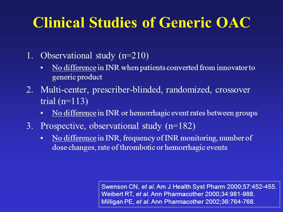 Clinical Studies of Generic OAC 1.Observational study (n=210) No difference in INR when patients converted from innovator to generic product 2.Multi-center, prescriber-blinded, randomized, crossover trial (n=113) No difference in INR or hemorrhagic event rates between groups 3.Prospective, observational study (n=182) No difference in INR, frequency of INR monitoring, number of dose changes, rate of thrombotic or hemorrhagic events Swenson CN, et al.