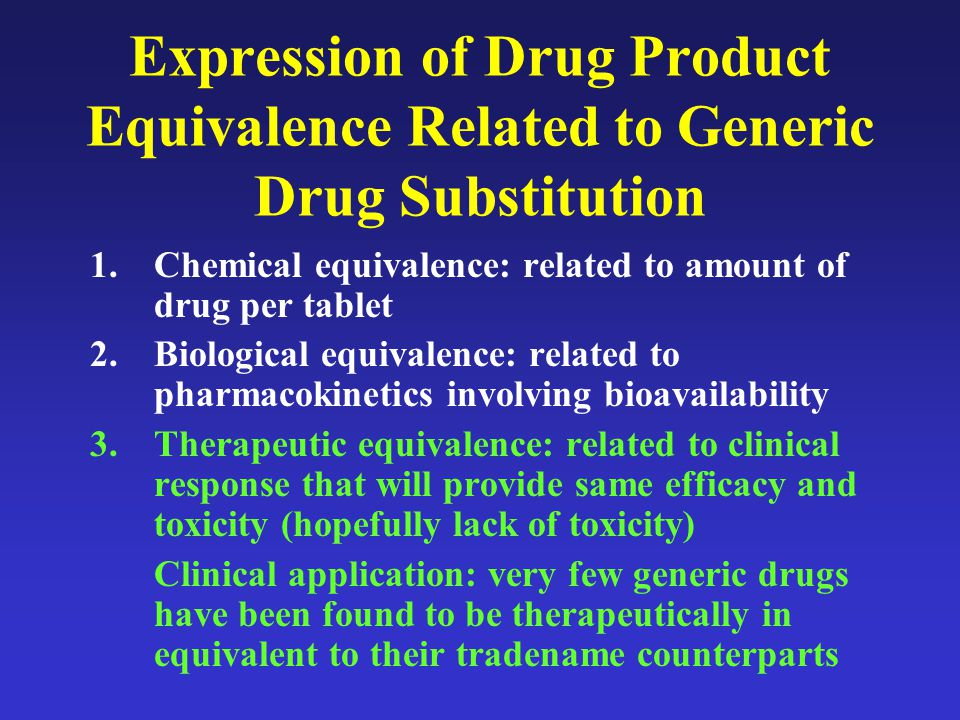 Clinical Perception of Generic OACs Use of generic warfarin in clinical practice: –2/3 of physicians prefer the innovator product 40% of these had concerns over potential differences in bioavailability, INR, manufacturing quality control standards –40% reported variations in INR associated with generic substitution Increased clinic visits Increased frequency of INR fluctuations –Rare published reports of clinical complications Spontaneous nose bleeding Drug interactions altering protein binding or hepatic metabolism of warfarin –Could result in increased morbidity and healthcare costs.