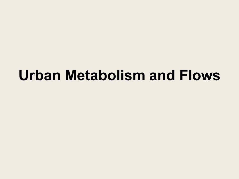 Urban Metabolism and Flows