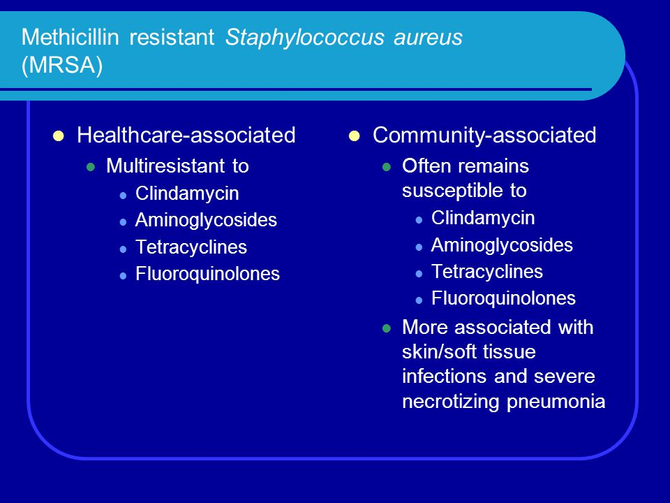 Methicillin resistant Staphylococcus aureus (MRSA) Healthcare-associated Multiresistant to Clindamycin Aminoglycosides Tetracyclines Fluoroquinolones