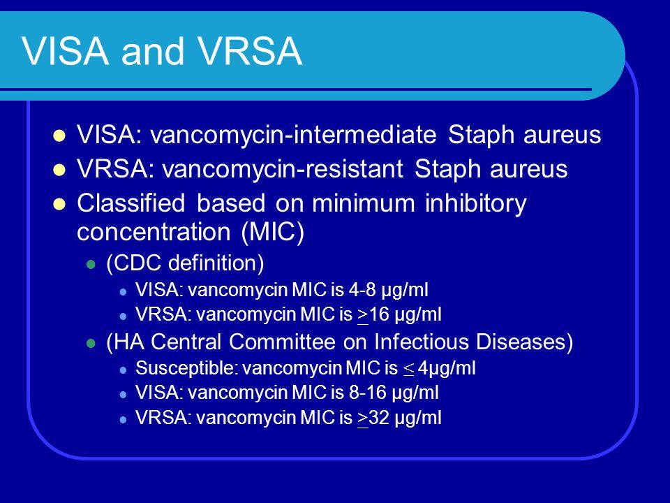 VISA and VRSA VISA: vancomycin-intermediate Staph aureus VRSA: vancomycin-resistant Staph aureus Classified based on minimum inhibitory concentration