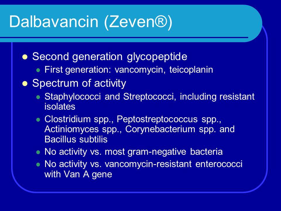 Dalbavancin (Zeven®) Second generation glycopeptide First generation: vancomycin, teicoplanin Spectrum of activity Staphylococci and Streptococci, inc
