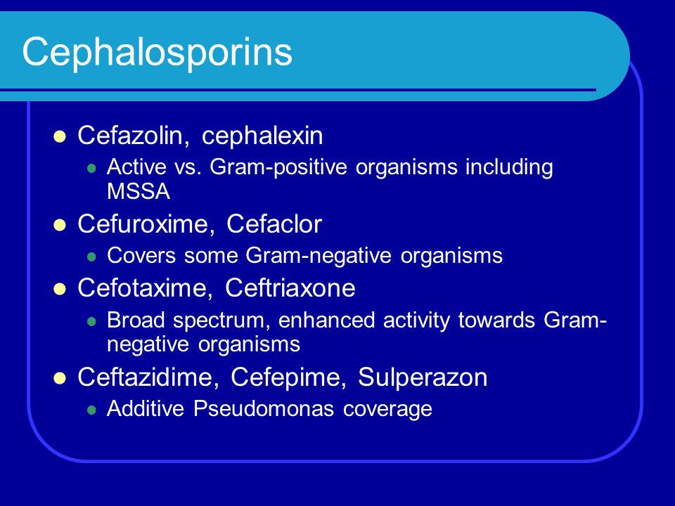 Cephalosporins Cefazolin, cephalexin Active vs. Gram-positive organisms including MSSA Cefuroxime, Cefaclor Covers some Gram-negative organisms Cefota