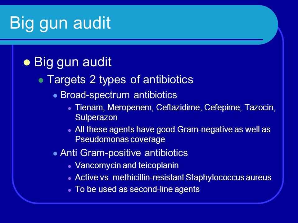 Big gun audit Targets 2 types of antibiotics Broad-spectrum antibiotics Tienam, Meropenem, Ceftazidime, Cefepime, Tazocin, Sulperazon All these agents