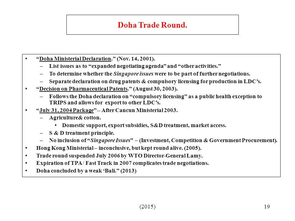 (2015)19 Doha Trade Round. Doha Ministerial Declaration. (Nov.