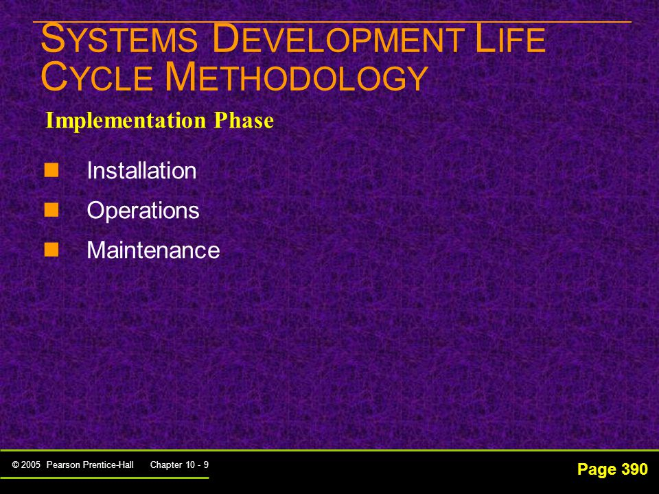 © 2005 Pearson Prentice-Hall Chapter 10 - 9 S YSTEMS D EVELOPMENT L IFE C YCLE M ETHODOLOGY Page 390 Implementation Phase Installation Operations Maintenance