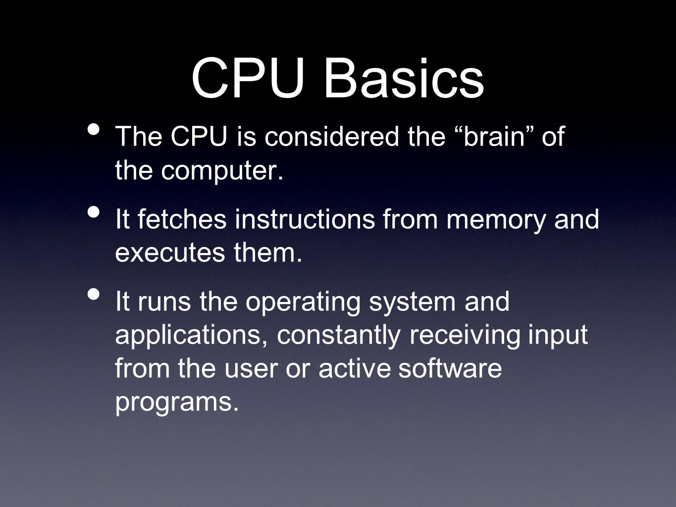Mobile Processors Used in notebook computers where portability and mobility are a concern.