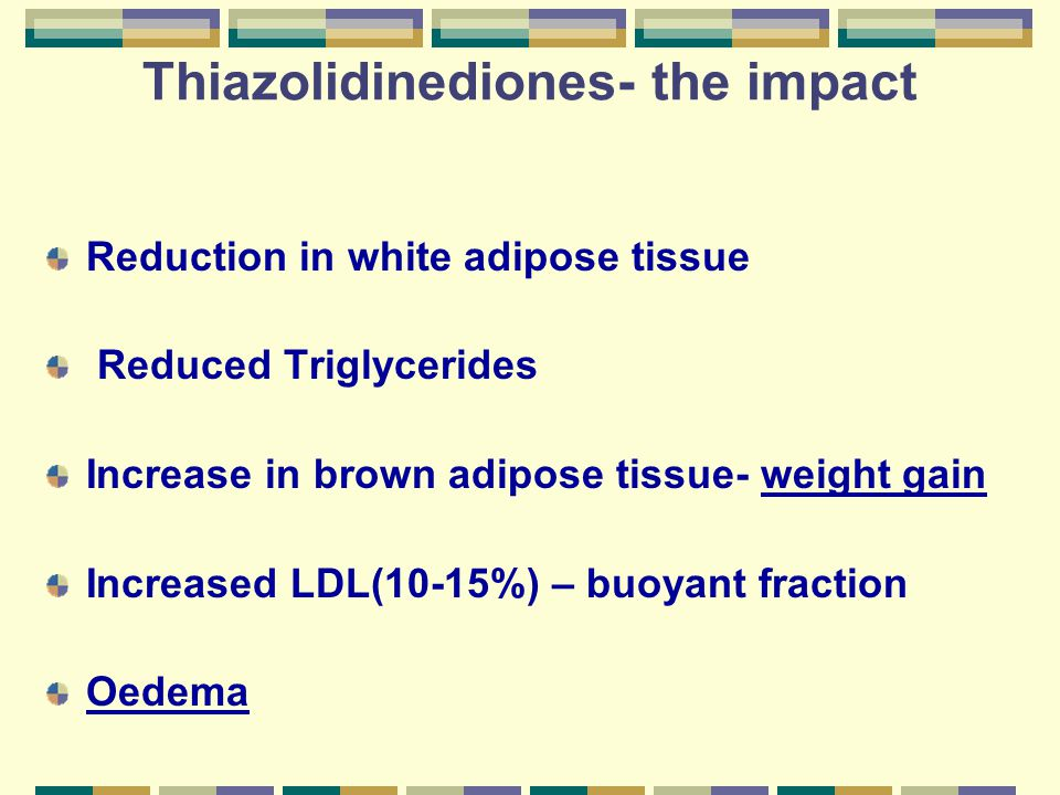 Thiazolidinediones- the impact Reduction in white adipose tissue Reduced Triglycerides Increase in brown adipose tissue- weight gain Increased LDL(10-