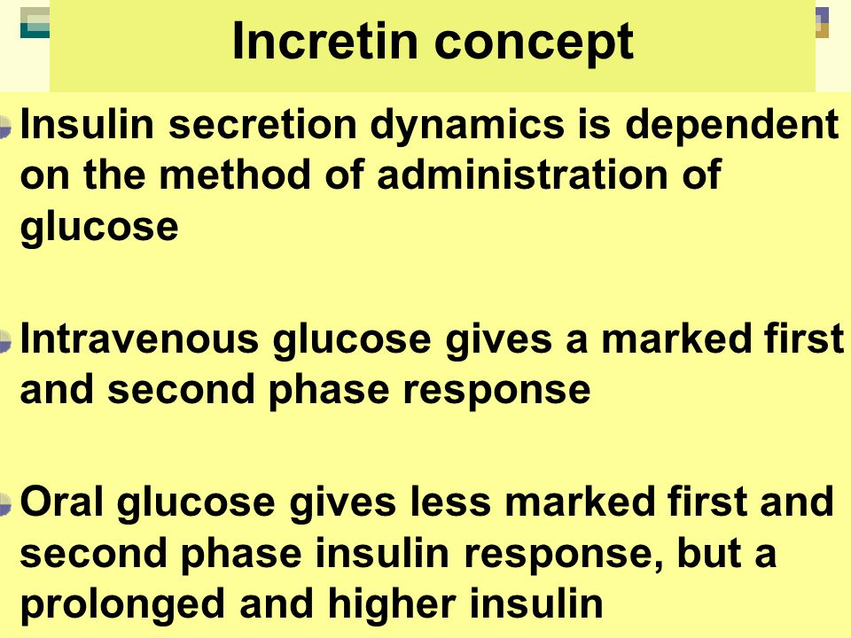 Incretin concept Insulin secretion dynamics is dependent on the method of administration of glucose Intravenous glucose gives a marked first and secon