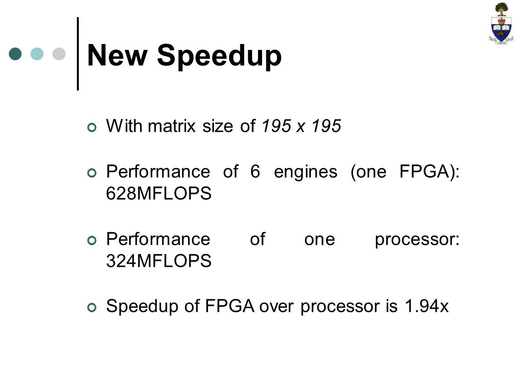 New Speedup With matrix size of 195 x 195 Performance of 6 engines (one FPGA): 628MFLOPS Performance of one processor: 324MFLOPS Speedup of FPGA over processor is 1.94x