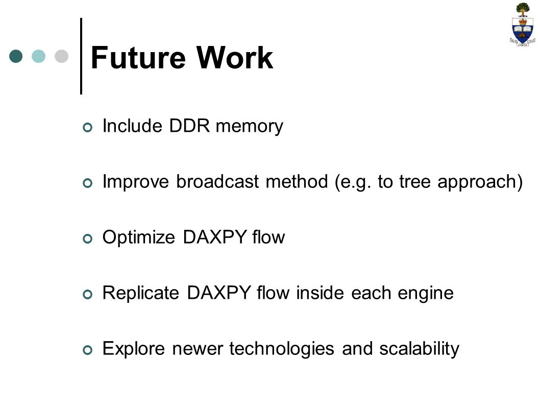 Future Work Include DDR memory Improve broadcast method (e.g.