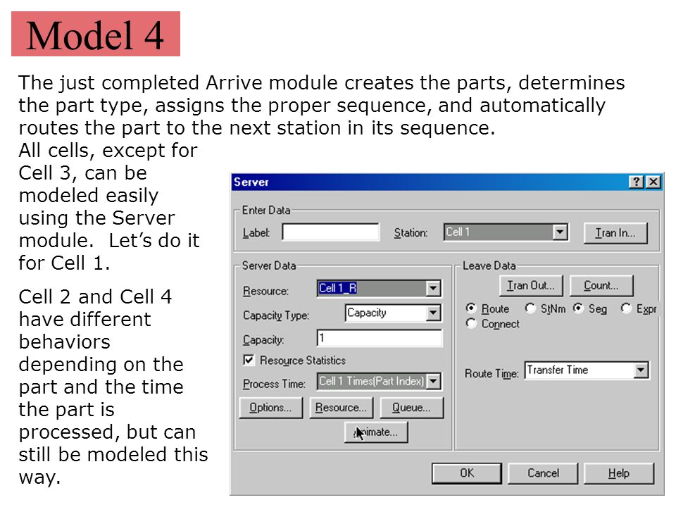 Model 4 The just completed Arrive module creates the parts, determines the part type, assigns the proper sequence, and automatically routes the part t