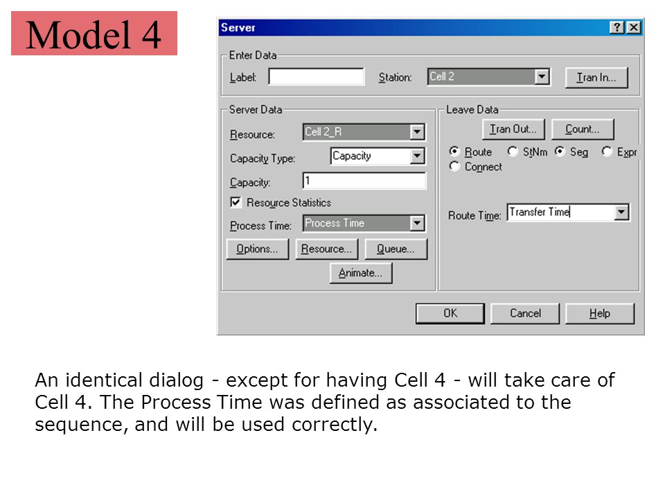 Model 4 An identical dialog - except for having Cell 4 - will take care of Cell 4. The Process Time was defined as associated to the sequence, and wil