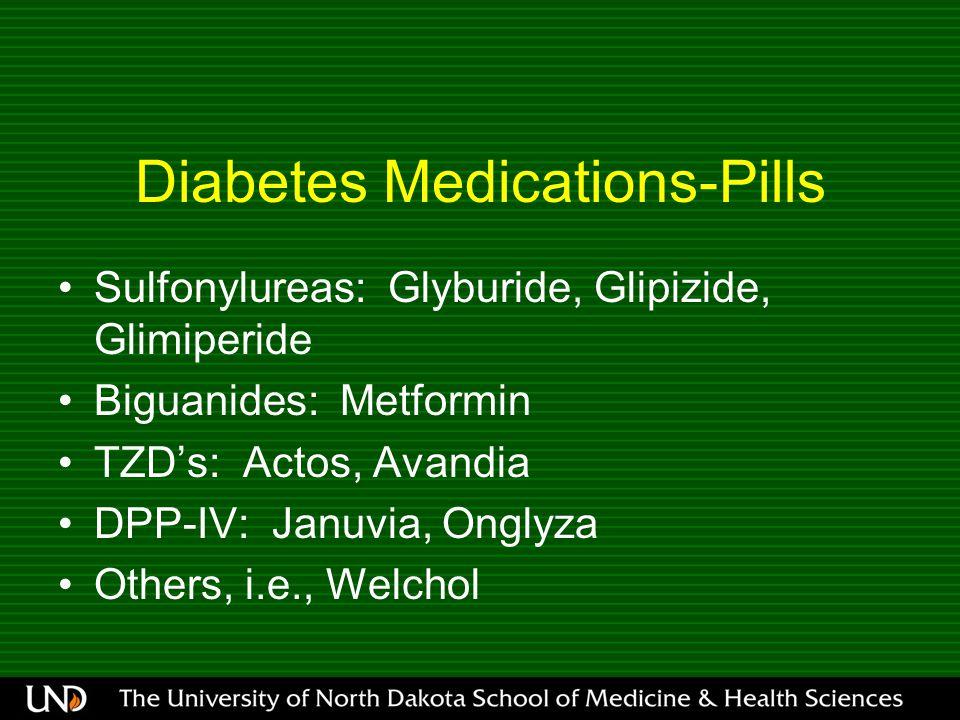 Diabetes Medications-Pills Sulfonylureas: Glyburide, Glipizide, Glimiperide Biguanides: Metformin TZD's: Actos, Avandia DPP-IV: Januvia, Onglyza Others, i.e., Welchol