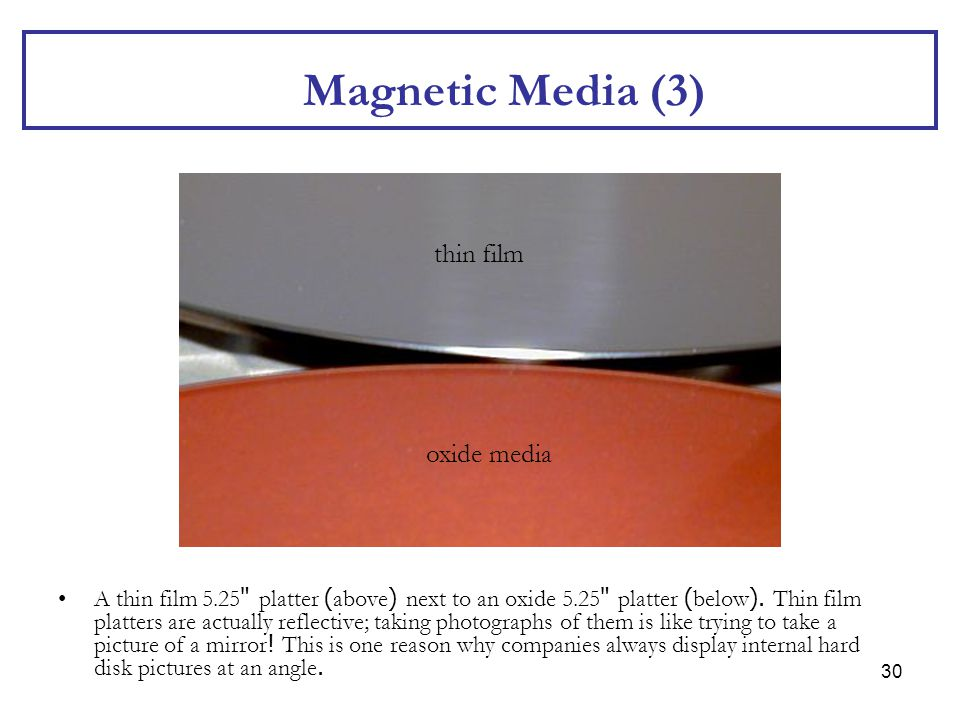 30 Magnetic Media (3) A thin film 5.25