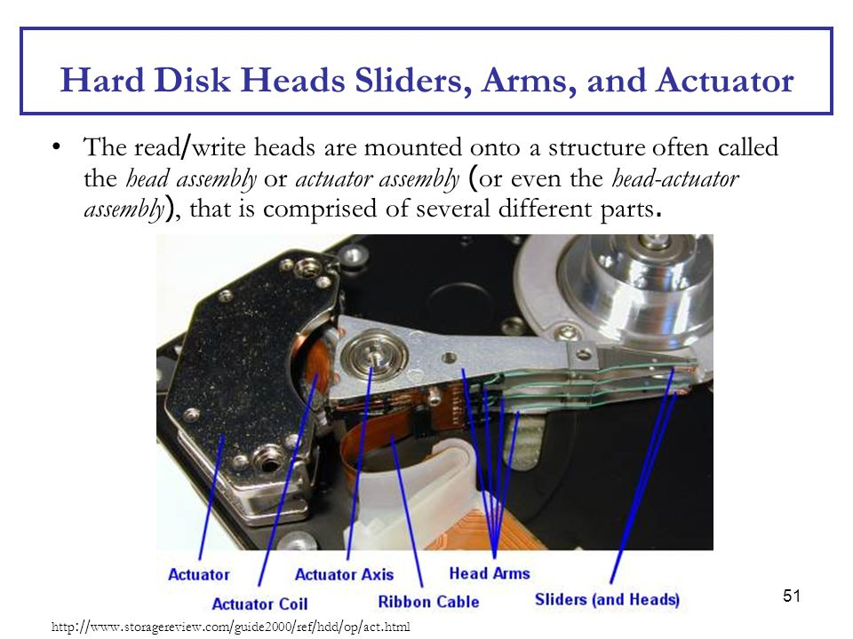 51 Hard Disk Heads Sliders, Arms, and Actuator The read/write heads are mounted onto a structure often called the head assembly or actuator assembly (