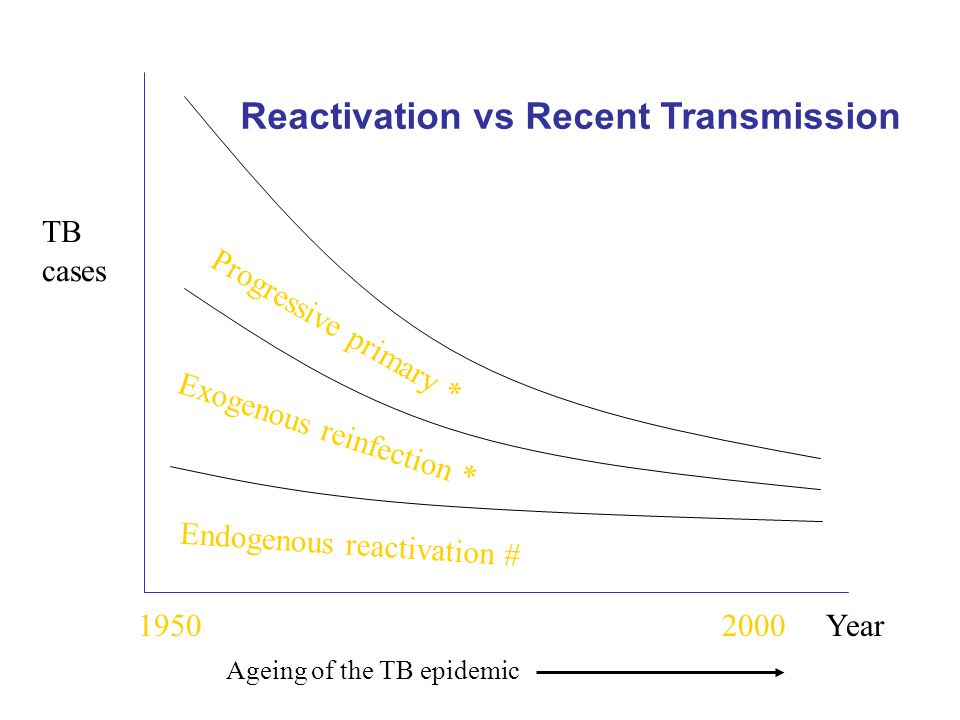 Progressive primary * Exogenous reinfection * Endogenous reactivation # Year1950 TB cases 2000 Ageing of the TB epidemic Reactivation vs Recent Transmission