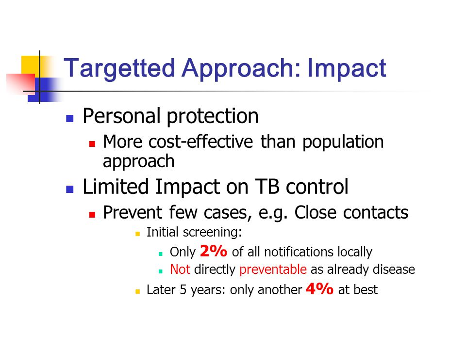Targetted Approach: Impact Personal protection More cost-effective than population approach Limited Impact on TB control Prevent few cases, e.g.