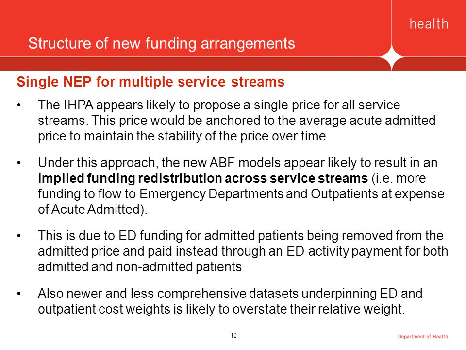 10 Structure of new funding arrangements Single NEP for multiple service streams The IHPA appears likely to propose a single price for all service streams.
