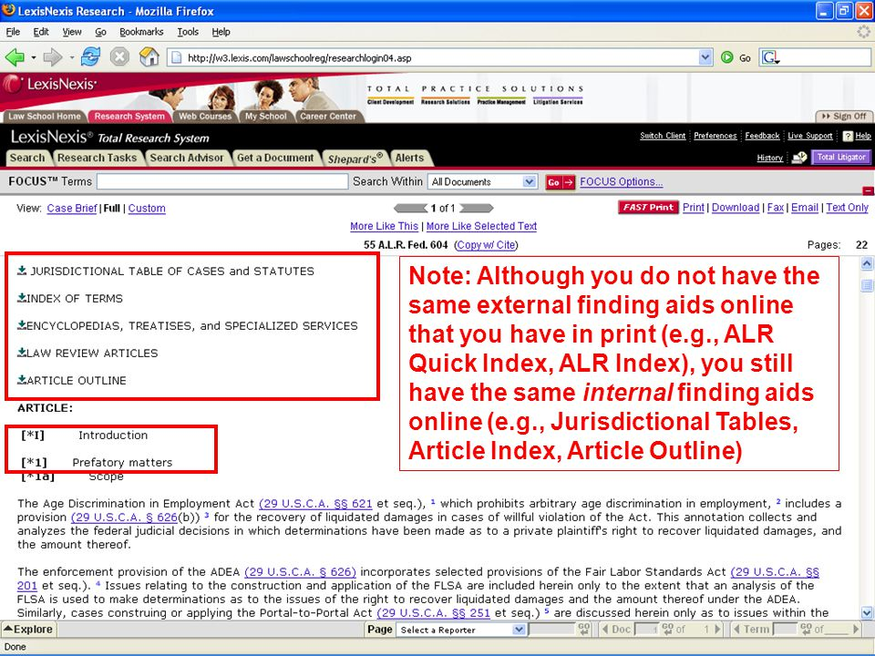Note: Although you do not have the same external finding aids online that you have in print (e.g., ALR Quick Index, ALR Index), you still have the same internal finding aids online (e.g., Jurisdictional Tables, Article Index, Article Outline)
