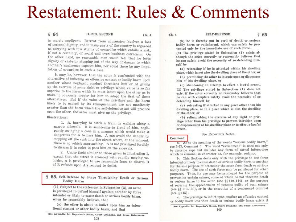 Restatement: Rules & Comments