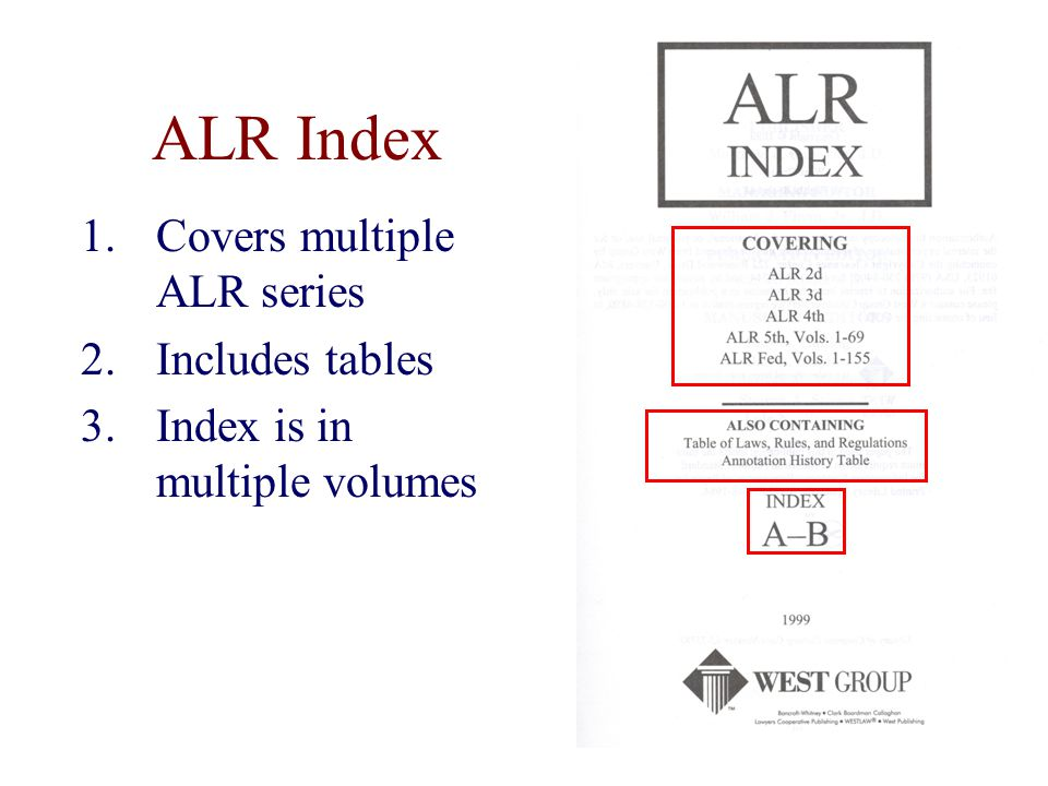 ALR Index 1.Covers multiple ALR series 2.Includes tables 3.Index is in multiple volumes