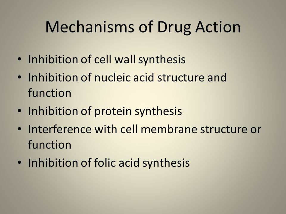 Mechanisms of Drug Action Inhibition of cell wall synthesis Inhibition of nucleic acid structure and function Inhibition of protein synthesis Interfer