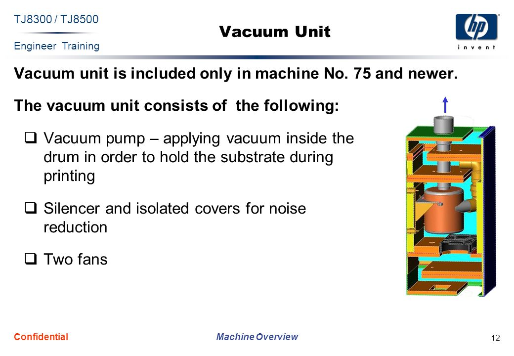 Engineer Training Machine Overview TJ8300 / TJ8500 Confidential 12 Vacuum Unit Vacuum unit is included only in machine No.