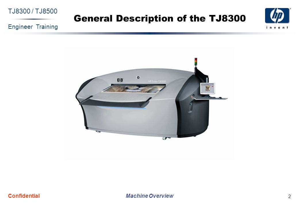Engineer Training Machine Overview TJ8300 / TJ8500 Confidential 43 Ink System This unit supplies ink to 150 inkjet heads, which are placed on the bridge (25 for each color in 6 channels).