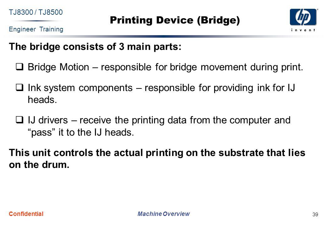 Engineer Training Machine Overview TJ8300 / TJ8500 Confidential 39 Printing Device (Bridge) The bridge consists of 3 main parts:  Bridge Motion – res