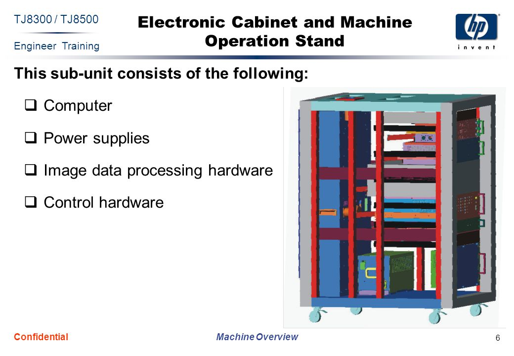 Engineer Training Machine Overview TJ8300 / TJ8500 Confidential 17 TJ8300 Specifications  Technology  Media  Image area  Resolution  Front-end software features  Screening  Throughput  Ink  Electrical requirements  Physical characteristics of the printing unit  Operating environment