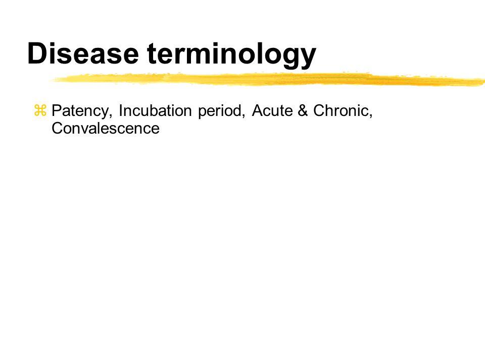 zPatency, Incubation period, Acute & Chronic, Convalescence