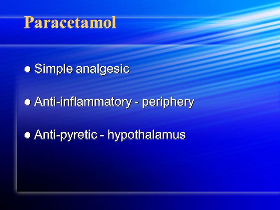 Paracetamol Simple analgesic Simple analgesic Anti-inflammatory - periphery Anti-inflammatory - periphery Anti-pyretic - hypothalamus Anti-pyretic - hypothalamus Simple analgesic Simple analgesic Anti-inflammatory - periphery Anti-inflammatory - periphery Anti-pyretic - hypothalamus Anti-pyretic - hypothalamus