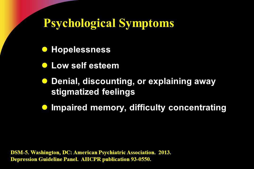 DSM-5. Washington, DC: American Psychiatric Association. 2013. Depression Guideline Panel. AHCPR publication 93-0550. Psychological Symptoms Hopelessn