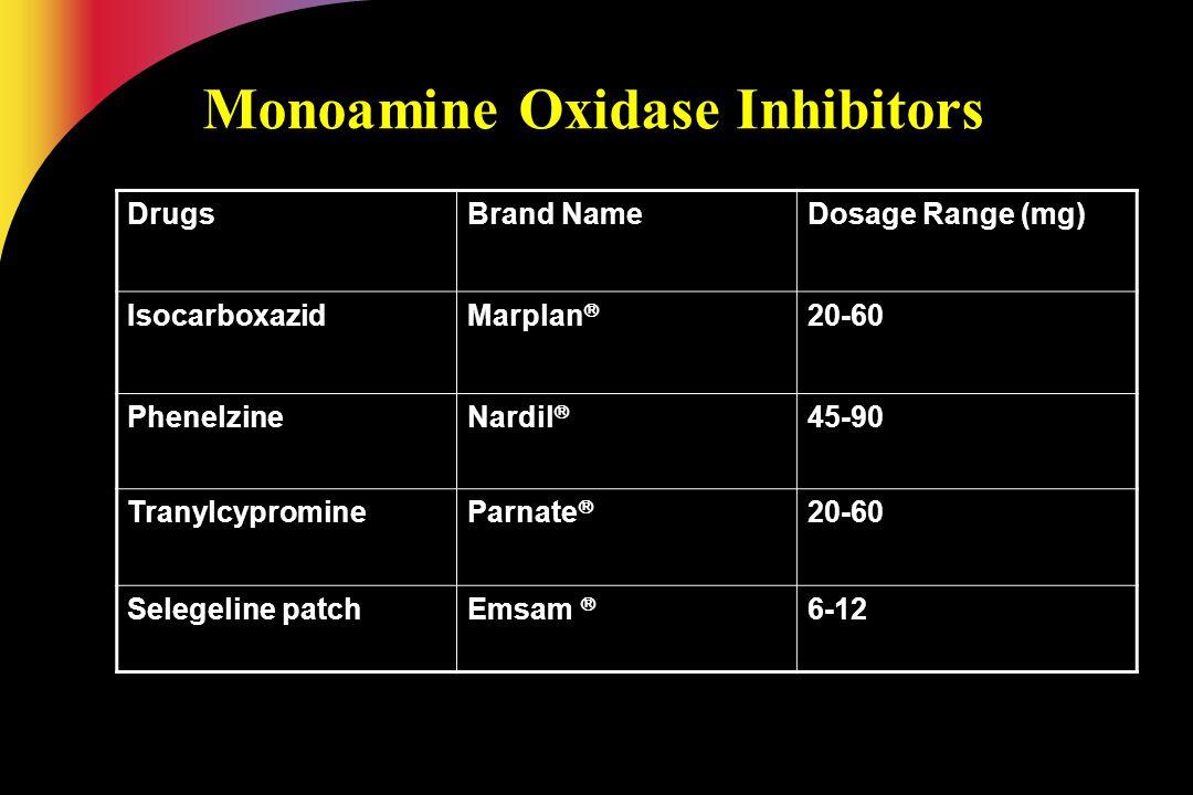 Monoamine Oxidase Inhibitors DrugsBrand NameDosage Range (mg) IsocarboxazidMarplan  20-60 PhenelzineNardil  45-90 TranylcypromineParnate  20-60 Sel